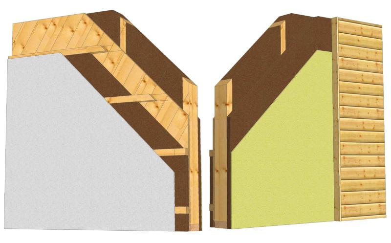 Holzständerwand mit Massivholzplatte